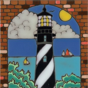 Lighthouse - Cape Hatteras - Hand Painted Art Tile