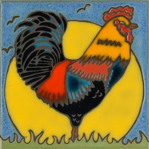 Full Rooster - Hand Painted Art Tile