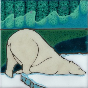 Aurora Borealis Polar Bear - Hand Painted Art Tile