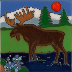 Moose - Hand Painted Art Tile