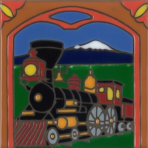 Train - Hand Painted Art Tile