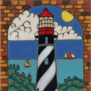 St. Augustine LIghthouse - Hand Painted Tile