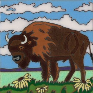 Buffalo - Hand Painted Art Tile