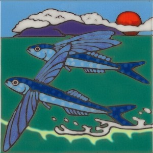 Flying Fish - Hand Painted Art Tile
