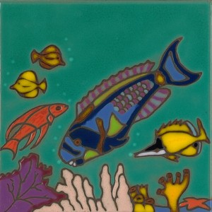 Parrot Fish - Hand Painted Art Tile