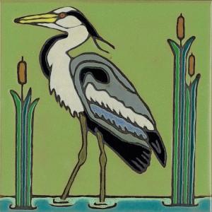 Great Blue Heron - Hand Painted Ceramic Tile