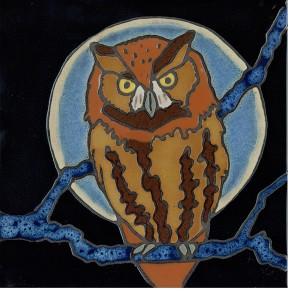 Screech Owl - Hand Painted Ceramic Tile