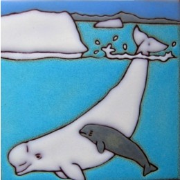 Beluga Whale & Baby - Hand Painted Art Tile