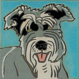 Schnauzer Dog -  Hand Painted Ceramic Tile