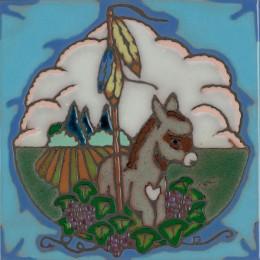 Donkey - Hand Painted Art Tile