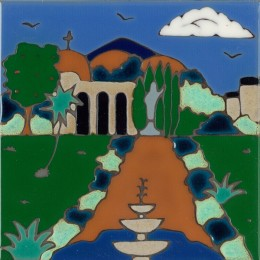 San Juan Capistrano Mission - Hand Painted Art Tile