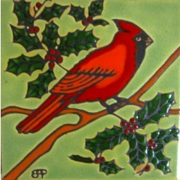Red Cardinal - Hand Painted Art Tile