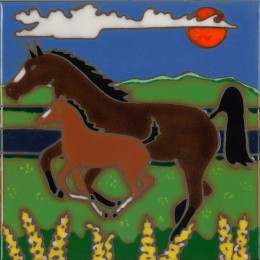 Horse & Baby - Hand Painted Art Tile