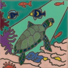 Sea Turtle - Hand Painted Art Tile