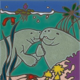 Manatees - Hand Painted Art Tile