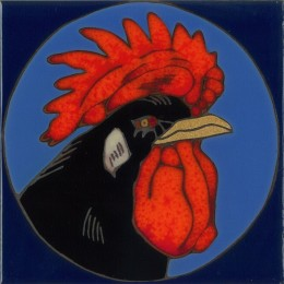Rooster Head - Hand Painted Art Tile