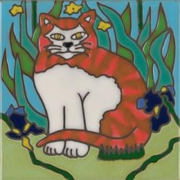 Tiger Stripe Cat - Hand Painted Art Tile