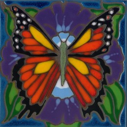 Monarch Butterfly - Hand Painted Art Tile