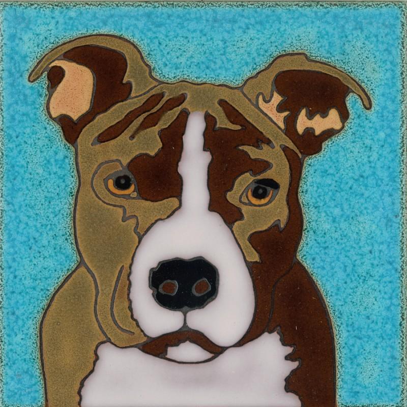 Pit Bull Terrier Hand Painted Art Tile