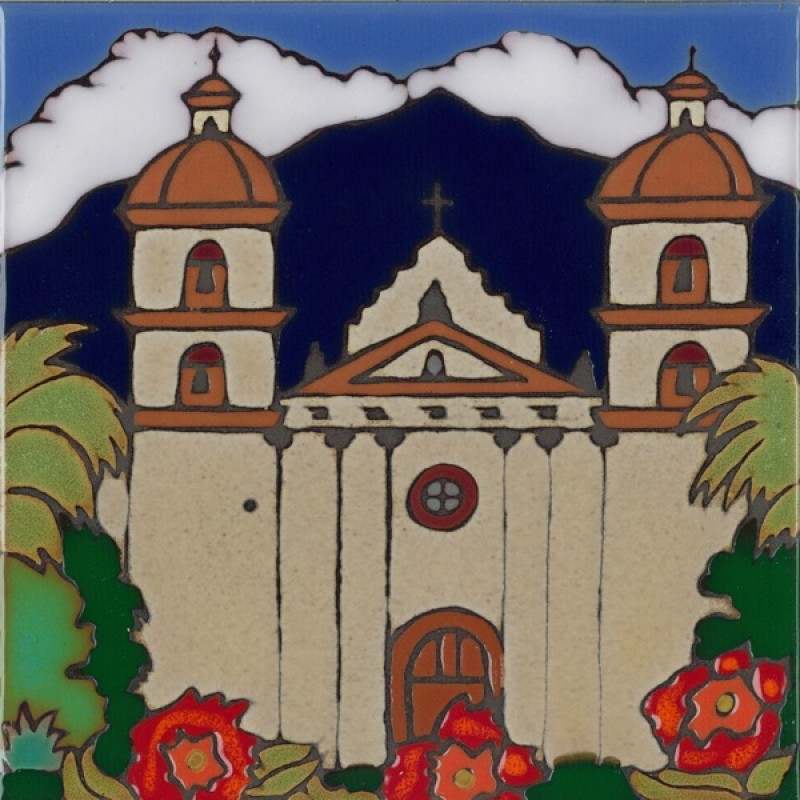 Santa Barbara Mission Hand Painted Art Tile