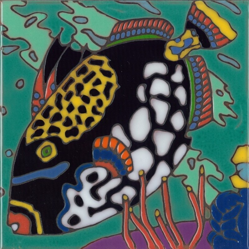 Trigger Fish Hand Painted Art Tile