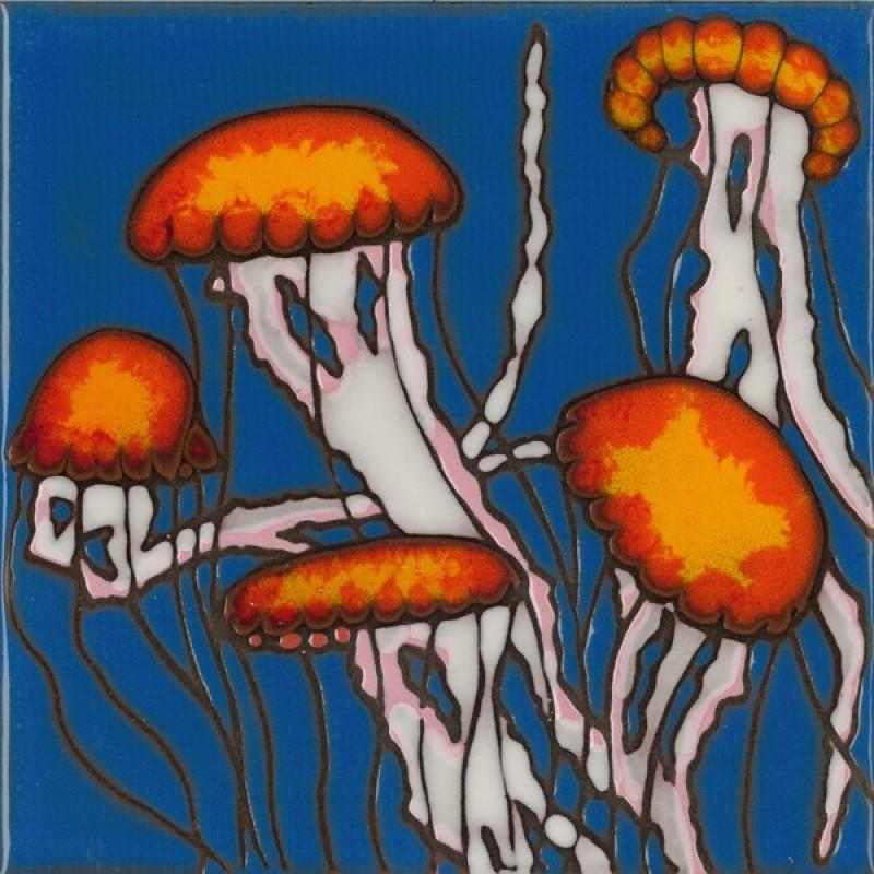 Jellyfish Scene Hand Painted Art Tile
