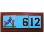 Address Plaque Plain Field Tile Design Framed in Redwood