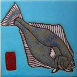 Halibut - Hand Painted Art Tile