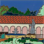 San Fernando Mission - Hand Painted Art Tile