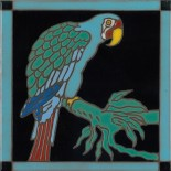 Catalina Blue Parrot - Hand Painted Art Tile