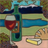 Wine and Cheese - Hand Painted Art Tile