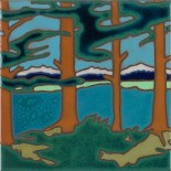 Mountain Lake - Hand Painted Art Tile