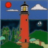 Lighthouse - Jupiter Inlet - Hand Painted Art Tile