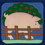 Pig - Hand Painted Art Tile