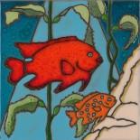 Garibaldi Fish and Baby - Hand Painted Art Tile