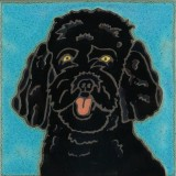 Black Poodle - Hand Painted Art Tile
