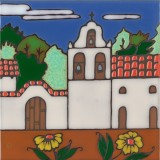 La Purisma Mission - Hand Painted Art Tile