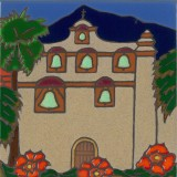San Gabriel Mission - Hand Painted Art Tile