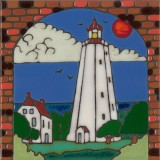 Lighthouse - Sandy Hook - Hand Painted Art Tile