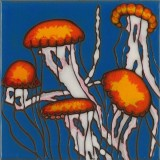 Jellyfish Scene - Hand Painted Art Tile