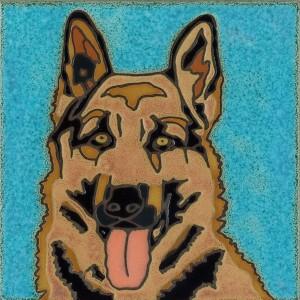 German Shepherd - Hand Painted Art Tile