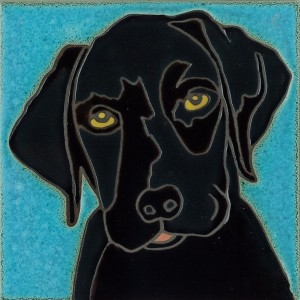 Black Lab Pup - Hand Painted Art Tile