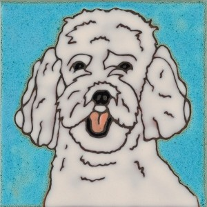 White Poodle - Hand Painted Art Tile