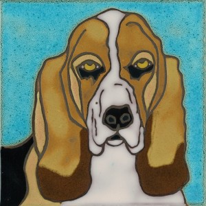 Basset Hound - Hand Painted Art Tile