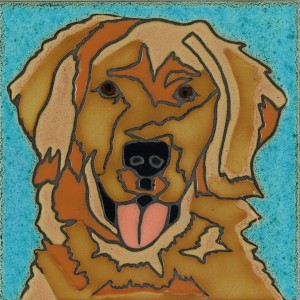 Golden Retriever - Hand Painted Art Tile