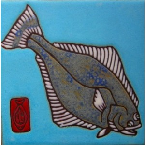 Halibut - Hand Painted Art Tile