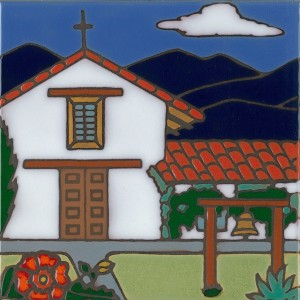 Sonoma Mission - Hand Painted Art Tile