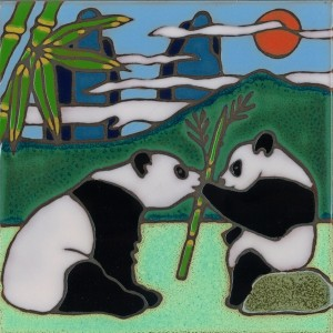 Panda Bears - Hand Painted Art Tile