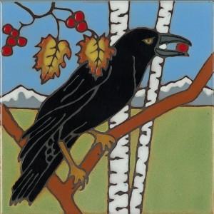 Raven - Hand Painted Art Tile