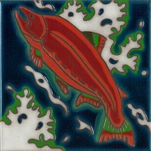 Salmon - Hand Painted Art Tile